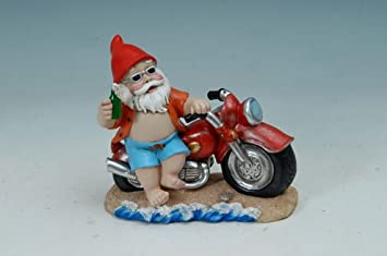Biker Gnome With Motorcycle Garden Statue
