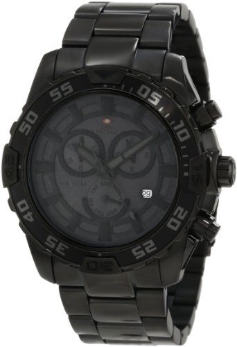 Swiss Precimax Men's SP12151 Formula-7 Pro Black Dial with Black Stainless Steel Band Watch