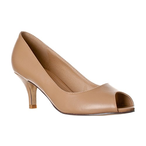 Riverberry Women's Lydia Open, Peep Toe Kitten Heel Pumps, Taupe PU, 7