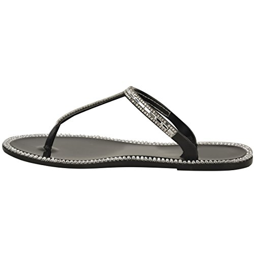 Flat Fashion Vacation Strappy Black Diamante Flops Size Jelly Sandals Jelly Flip T Womens Bar Thirsty wwq4XS