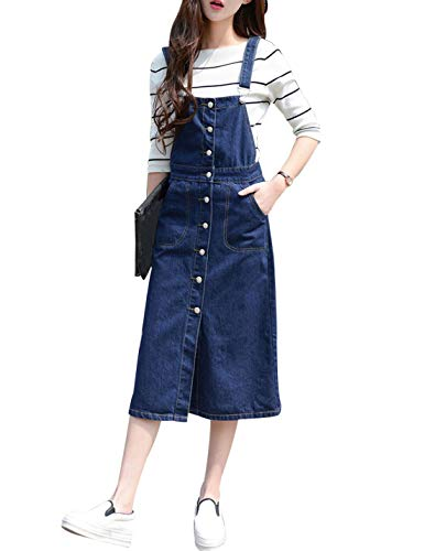 Yeokou Women's Midi Length Long Denim Jeans Jumpers Overall Pinafore Dress Skirt (XX-Large, ()