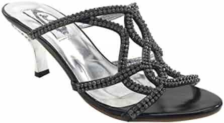 63dd7575de138 New Brieten Women s Rhinestone Straps Kitten Heel Mules Comfort Sandals