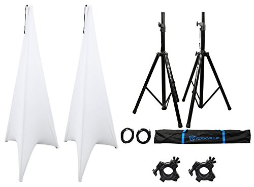 2) Rockville Tripod DJ Speaker Stands+Cables+Scrim Werks White Covers+Carry Case by Rockville