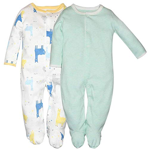 Hisharry Baby Boys Footed Pajamas 2-Pack Cotton Infant Overall Sleeper and Play 0-3M