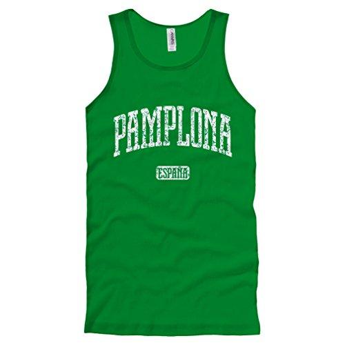 Adult Bull Running (Smash Vintage Men's Pamplona Spain Tank Top - Kelly Green, Medium)