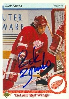 Autograph Warehouse 63188 Rick Zombo Autographed Hockey Card Detroit Red Wings 1990 Upper Deck No. 115