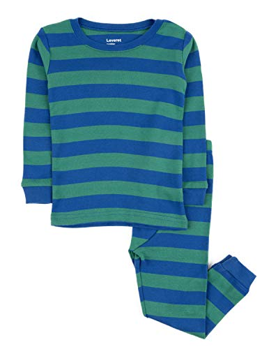 Leveret Striped 2 Piece Pajama Set 100% Cotton (2 Toddler, Blue & Green)