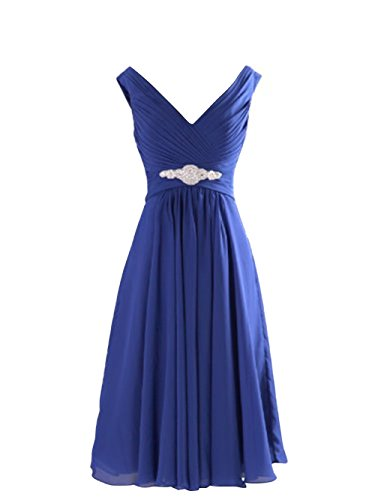 LOVEBEAUTY Women's V Neck Criss Cross Pleated Short Mother Of The Bride Dresses Royal Blue 10