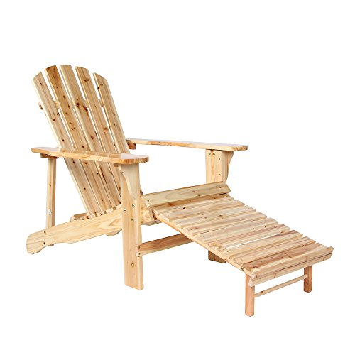 PTO Furniture Adirondack Chair Garden Outdoor Chair Ottoman Wooden Folding  Patio Chair With Adjustable Footrest