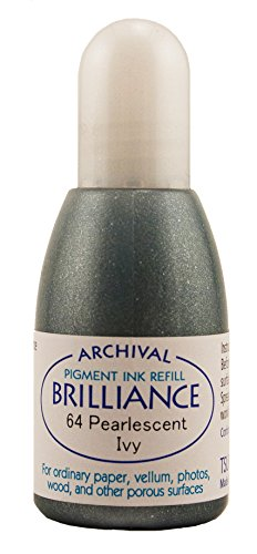 Brilliance Dew Drop Pigment Ink - Tsukineko 20 cc Brilliance Pigment Inker, Re-Ink Brilliance Inkpads and Dew Drops, Pearl Ivy