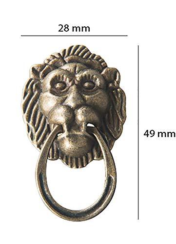 Small Knob Lion Head Brass (Nerien 2 Pcs Antique Brass Lion Head Knobs Cabinet Handles Door Hardware Handles Cupboard Closet Drawer Pulls (1.9