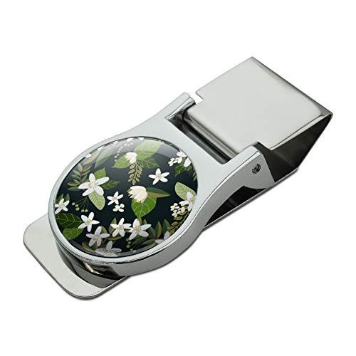 Jasmine Flowers Satin Chrome Plated Metal Money Clip