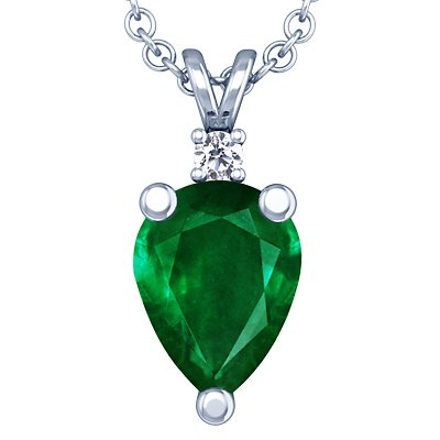 Platinum Pear Cut Emerald And