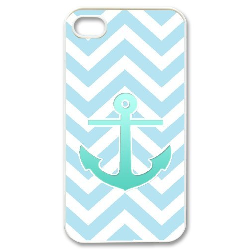 Cooliphone4Cases.com-2837-iPhone 4s Case, Hard Back Cover for iPhone 4s with Teal Blue Chevron Anchor Phone case Design-B01KX0IETK-T Shirt Design