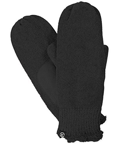 - Isotoner Women's Chenille with Suede Palm Knit Mitten, One Size (Black)