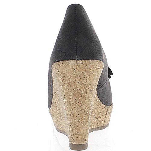 Offset nero tacco 10cm e mensola con nodo graziosa e strass