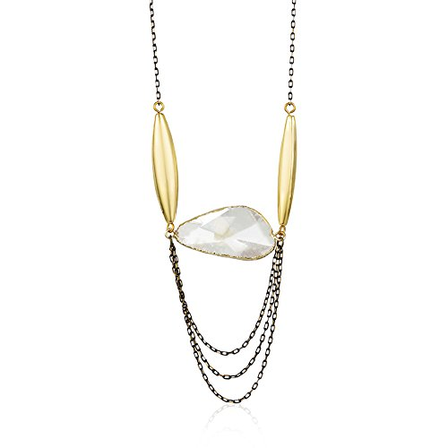 Chuvora Starfish Project, Ellery Golden Base and White Crystal Unique Pendant Necklace, 34 Inches