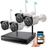 Wireless Security Camera System Outdoor, ONWOTE 1080P HD NVR, 4 960P HD 1.3MP Night Vision WiFi Surveillance Cameras for Home Security, NO Hard Drive (Built-in Router, Auto Pair, Mobile View)