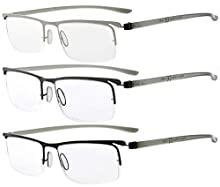 Eyekepper 3 Pairs Half-Rim Reading Glasses Unique Design Frame Reader Eyeglasses for Men Women Reading +2.75
