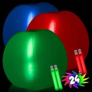 "Windy City Novelties Glow in the Dark Beach Ball - 24"" Inches Green"