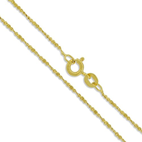 - Sterling Silver Gold Plated Serpentine Twist Rope Chain 1.2mm 925 Necklace 18