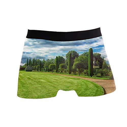 (ZWETTET Men's Sexy Funny Beautiful Golf Course Print Boxer Briefs Underwear Polyester Spandex)