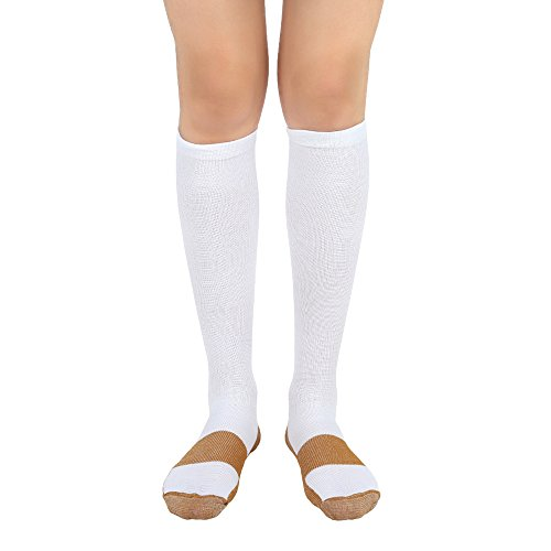 Circular Side Zipper - (White/Copper, Lg/XL, 1Pr) Compression Socks 20-30 mmHg BEST Graduated Athletic & Medical Use for Men & Women for Running, Flight, Travel, Nurses - Boost Performance, Blood Circulation & Recovery