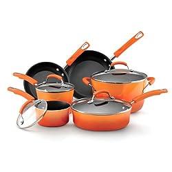 Rachael Ray Nonstick 10-Piece Cookware Set, Orange Gradient