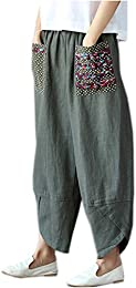 Women Patchwork Baggy Wide Leg Linen Pants Trousers With Big Pockets