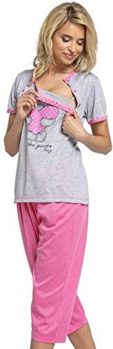 Happy Mama. Womens Maternity Top Nursing Pyjamas Crop Pants Nightwear. 517p (Pink, US 2/4, S) by Happy Mama