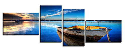 YPY Paintings Scene of Sea Boat Nature Beauty Wall Art Ready to (Man Boat Kit)