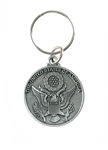 Military Medals Pewter God Bless America Saint Christopher Key Chain, 1 1/2 Inch (Seal of America)