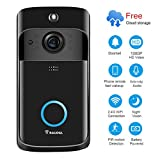 Video Doorbell [2019 Upgrade] Wireless Doorbell Camera IP5 Waterproof HD 1080P WiFi Security Camera Real-Time Video for iOS&Android Phone, Night Light