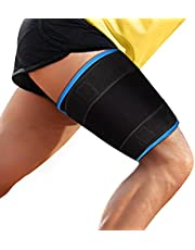 supregear Thigh Brace Support, Adjustable Hamstring Quad Compression Sleeve, Neoprene Thigh Wrap Upper Leg Compression Sleeve Leg Slimmer for Women Men, Great for Muscle Injury Strain Recovery