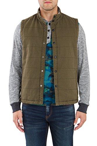 UNIONBAY Men's Flannel Lined Canvas Vest, Cargo Green, Medium