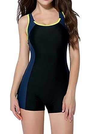 BeautyIns Womens One Piece Swimsuit Boyleg Swimwear Sports Boy short Swimming Costume Yellow US Size 4