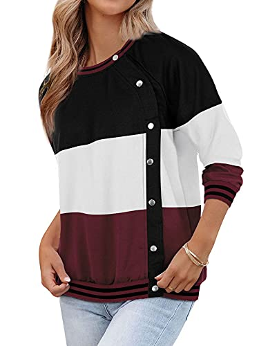 MYMORE Button Down Crewneck Sweatshirts For Women Color Block Striped Pullver Tops