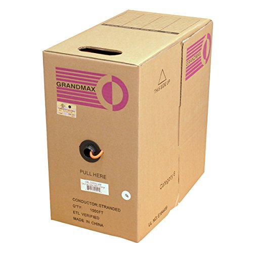 GRANDMAX CAT6 550MHz Stranded PVC Bulk Cable, 1000ft, UTP Pull Box, CMR Rated, 100% Pure Copper, Multiple Colors Available, 4 Pair, 24 AWG/ 1000FT/ Orange