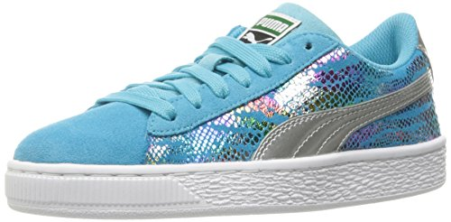 PUMA Suede Sport Lux Kids Sneaker (Big Kid), Blue Atoll/Puma Silver, 7 (Suede Girls Shoes)