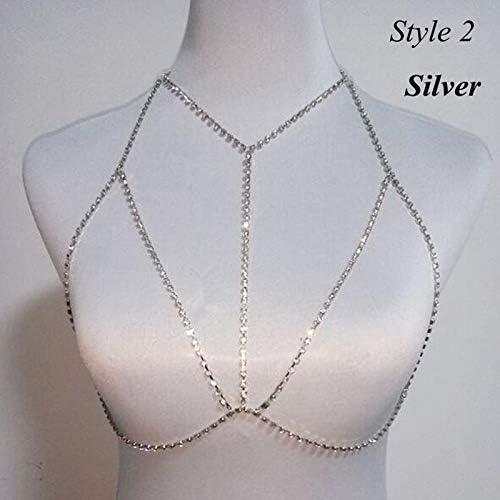 ZYZRYP 女性の夏のビーチドレス女性のセクシーなシャイニークリスタルラインストーンのブラジャーの胸ボディーチェーンビキニジュエリー脚チェーン (Metal color : 2 silver)