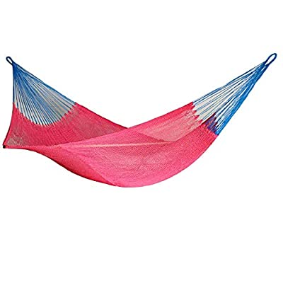 New Rope Nylon Handmade Hammock Weather-Resistant Made in Venezuela Soft to The Touch Multicolored (red and Blue Lines) - hammock handmade in Venezuela color: Yellow, Length: 11.10 ft Aprox. X Width:7 ft. Weight Capacity: 300 lbs. Hammock is Weather Resistant and washable in washing machine - patio-furniture, patio, hammocks - 41E 7rwRoFL. SS400  -