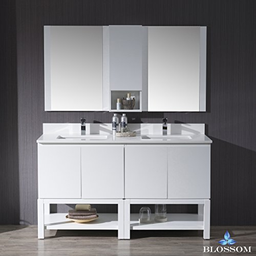 BLOSSOM 000-60-01-D30 Monaco 60″ Double Vanity Set with Mirror and Wall Cabinet Matte White
