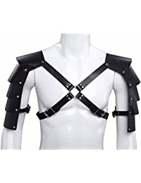 Men's Knights Leather Body Chest Harness Shoulder Guard Armour Costumes