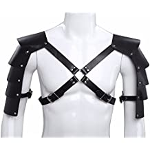 FEESHOW Men's Knights Leather Body Chest Harness Shoulder Guard Armour Costumes, BLACK OS