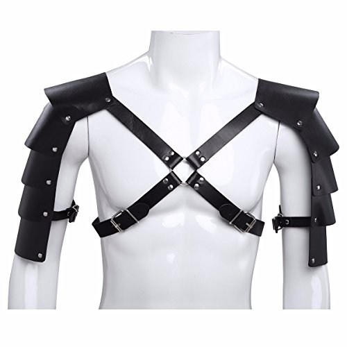 FEESHOW Men's Knights Leather Body Chest Harness Shoulder Guard Armour -
