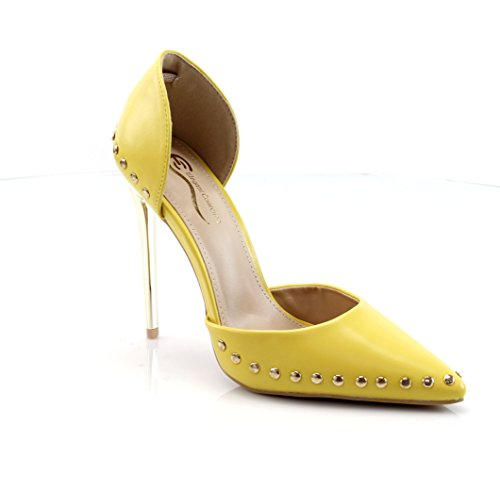 FOREVER VOGUE Women Pumps Pointed Toe High Heel Studded Stiletto Slip On Dress Shoes ()