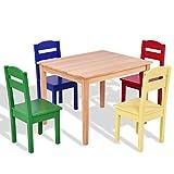 5 pcs Kids Pine Wood Multicolor Table Chair Set