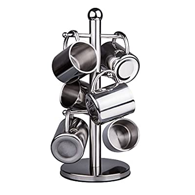 IMEEA Brushed Stainless Steel Double Wall Mug Tree Tea Cups Mini Kids Cups W/ Stand Holder, 220ml / 7.8oz, Set of 6