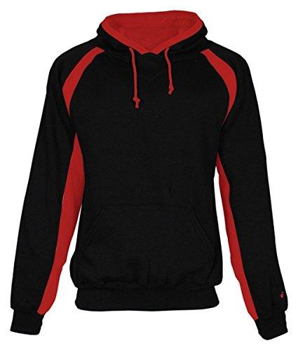 - Badger Sportswear Men's Hook Hooded Fleece Sweatshirt, black/red, X-Large