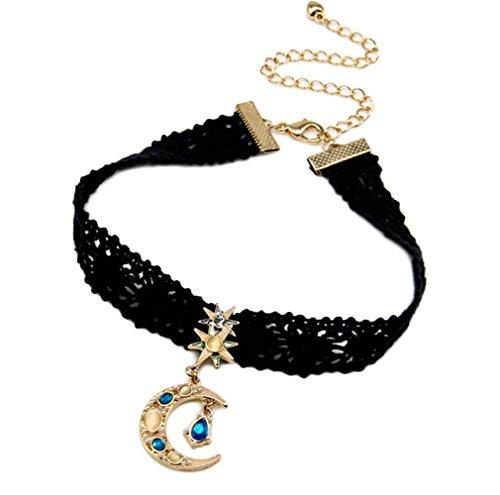ZQ Retro Black Lace Cord Alloy Moon Goddess Stars Pendant Choker Necklace Goddess Star Necklace